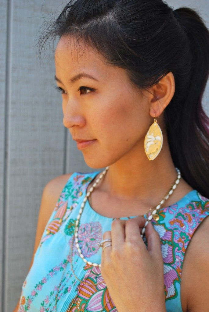 Leifsdottir Patterned Tank and Leaf Earrings