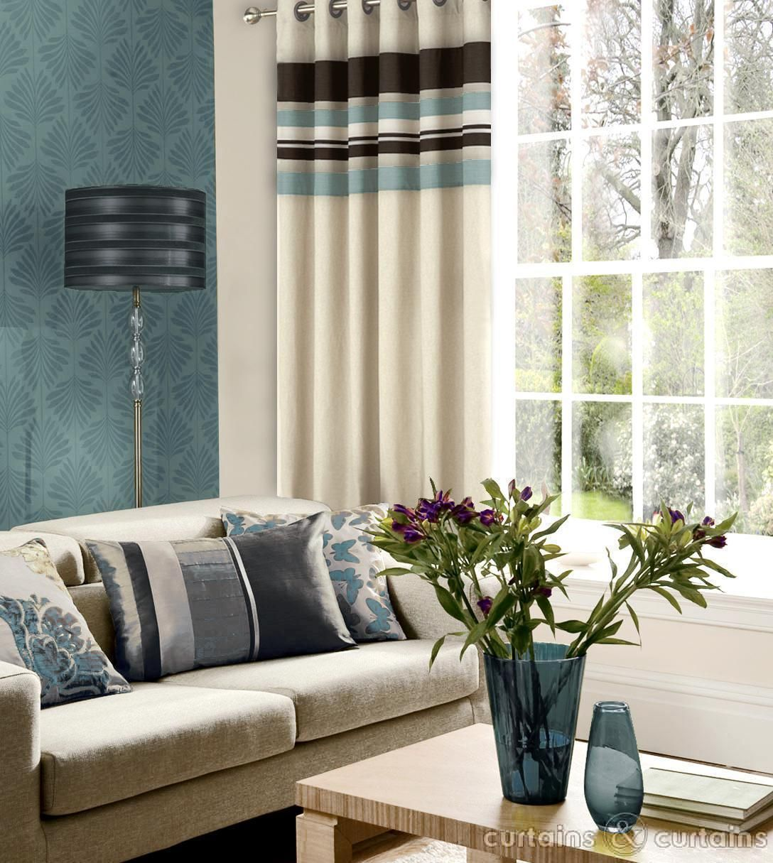 Harvard Duck Egg Blue Brown Eyelet Lined Curtain - Curtains UK ...