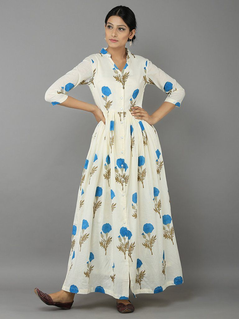Aqua Blue Off White Mogra Print Mulmul Cotton Maxi Dress | THE ...