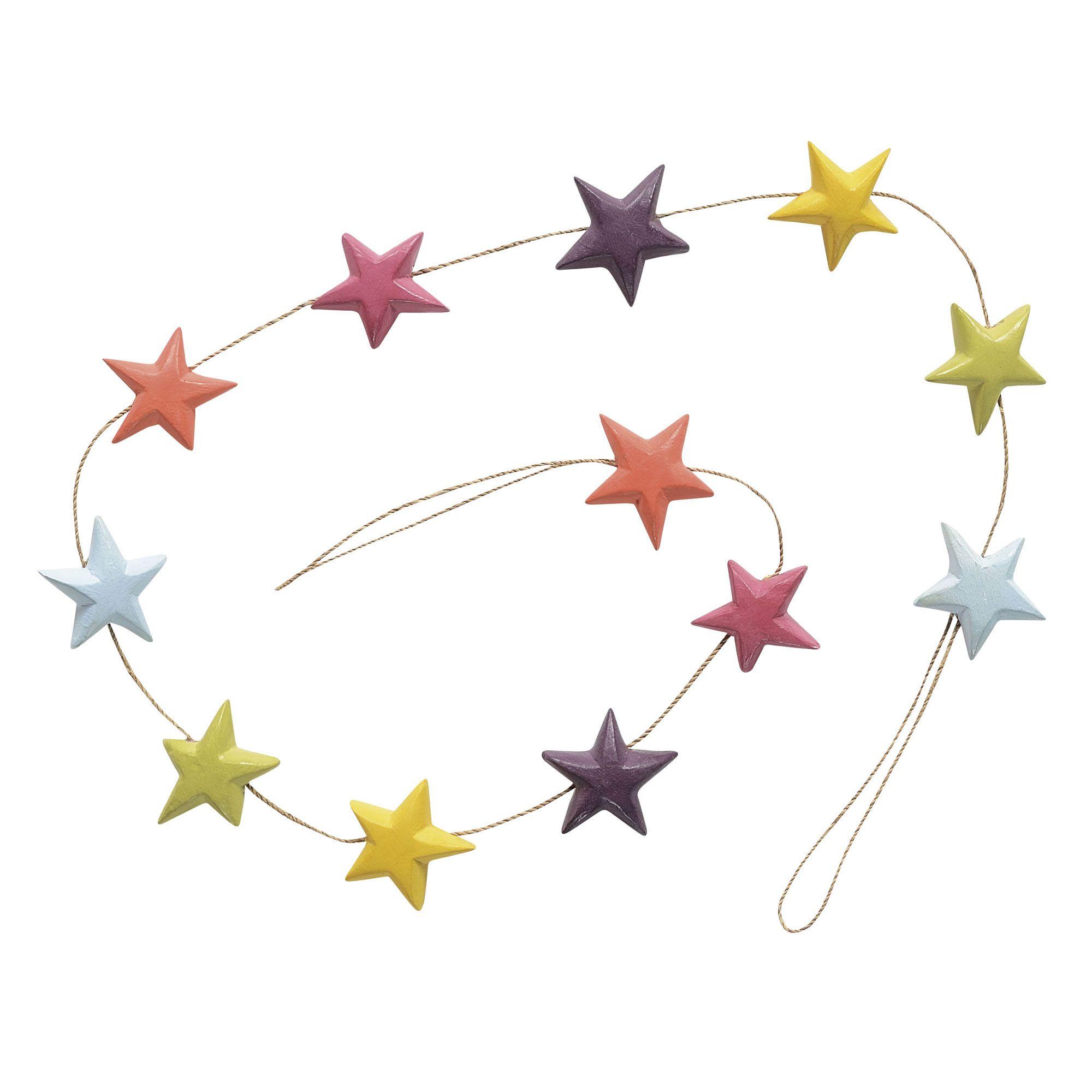 Guirlande étoiles en bois multicolore L.130cm NATURAL Jardin d ...
