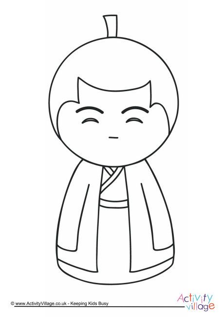 Kokeshi doll colouring page 2 | Dolls, Coloring pages for ...