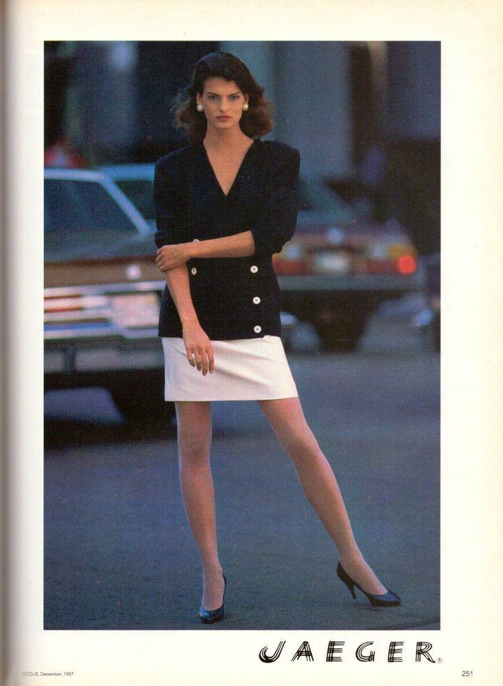 1987 Linda Evangelista Jaeger Fashion Print Ad Advertisement Vintage VTG 80s | eBay