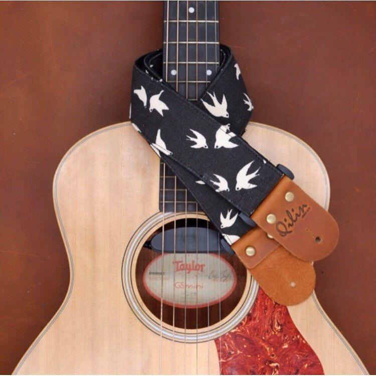 White Birds On Black Guitar Strap Handcraft By Qilinlibrary Guitar Strap Black Guitar Strap Camera Strap