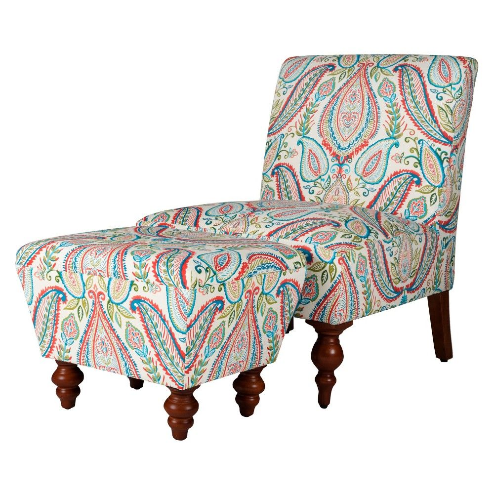 Fabulous Slipper Accent Chair And Ottoman Coral Turquoise Homepop Short Links Chair Design For Home Short Linksinfo