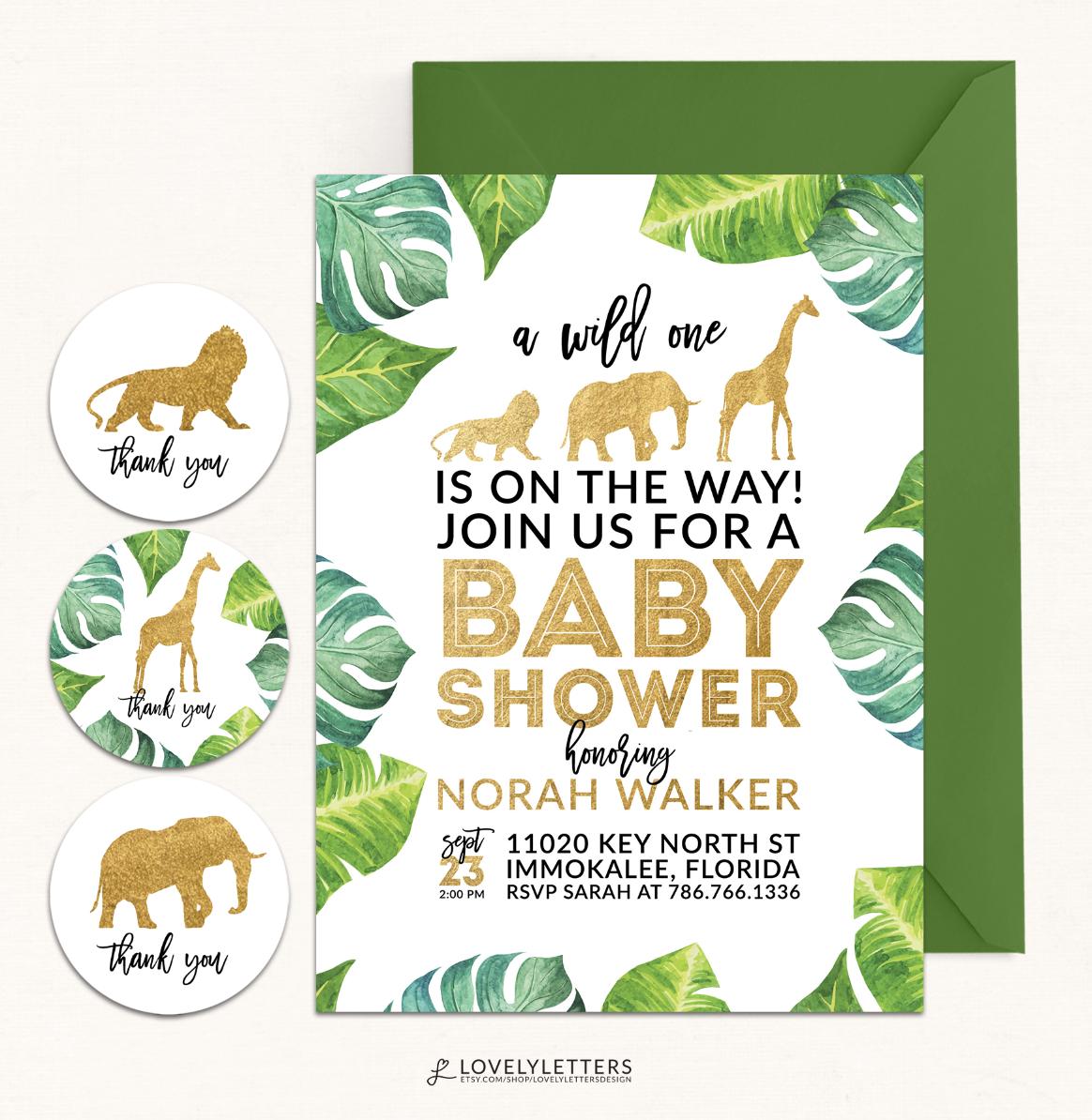 Safari Baby Shower Safari Shower Safari Invitation Golden