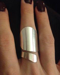 Moderne Statement Ring aus Sterlingsilber – Valentine-verstellbare Größe