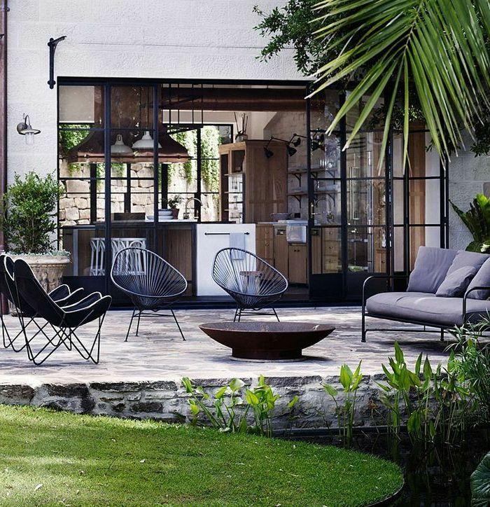 Terrasse Feuerstelle garten terrasse feuerstelle außenmöbel modern feuerstellen im