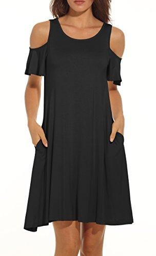 c887cd7ebe4ea QIXING Women s Summer Cold Shoulder Tunic Top Swing T-Shirt Loose Dress  With Pockets