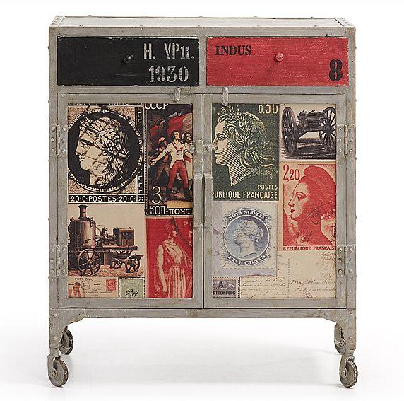 Ador Vintage Chevon Material: Metal Mueble realizado con estructura metalica en acabado gris desgastado, puertas y cajones decorados con imagenes vintage... Eur:563 / $748.79