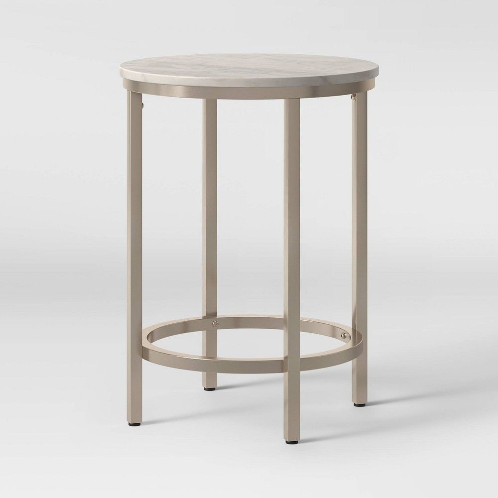 Greenwich Round Marble Top End Table With Nickel Base Natural Threshold Marble End Tables Marble Top End Tables Marble Tables Design