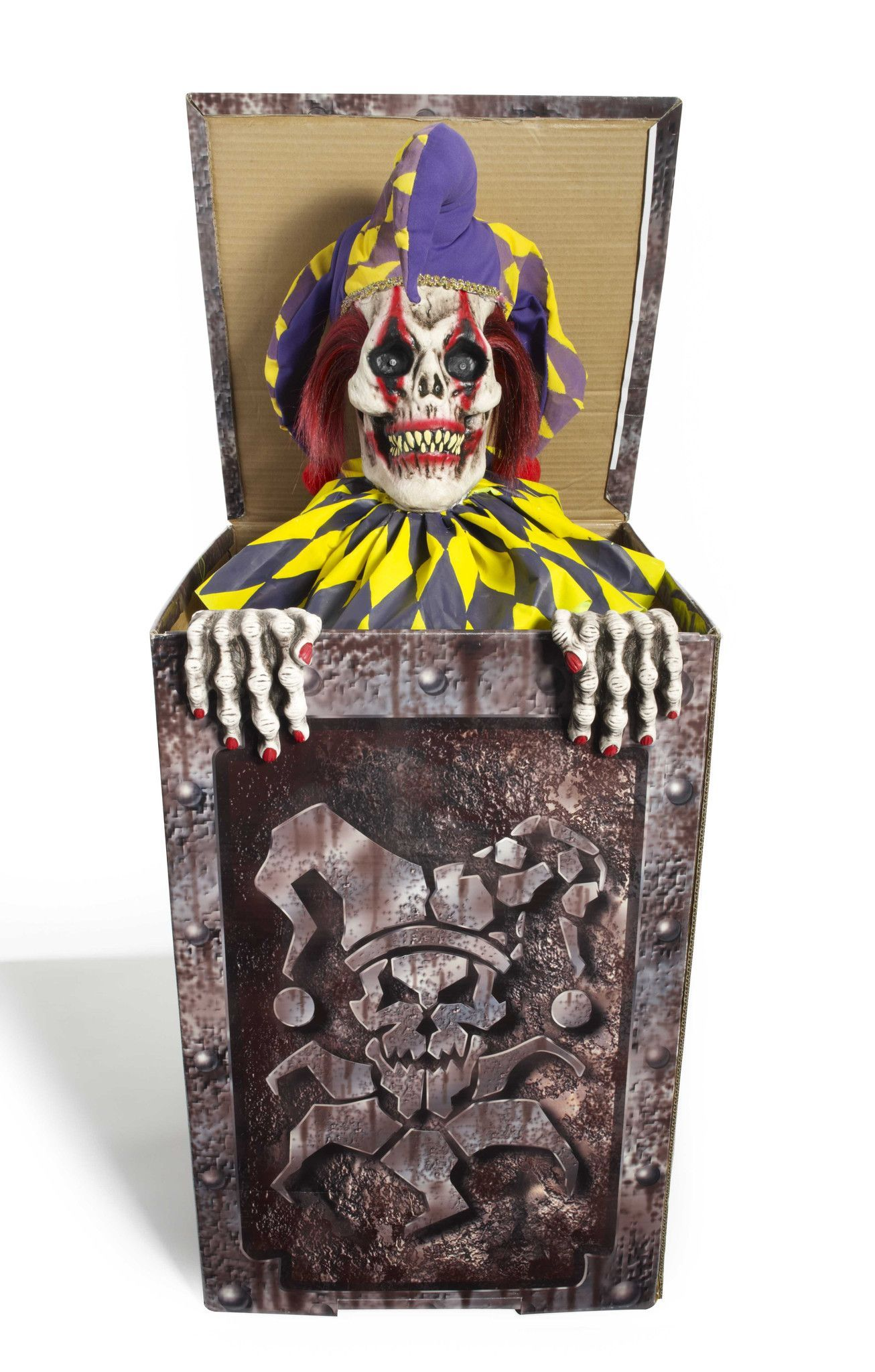 He's NOT a friendly Jack in the Box! Come closer and he'll tell you himself! Built in sound sensor sets off this very scary jester, who will rise up from his box to scare your guests if they get too c