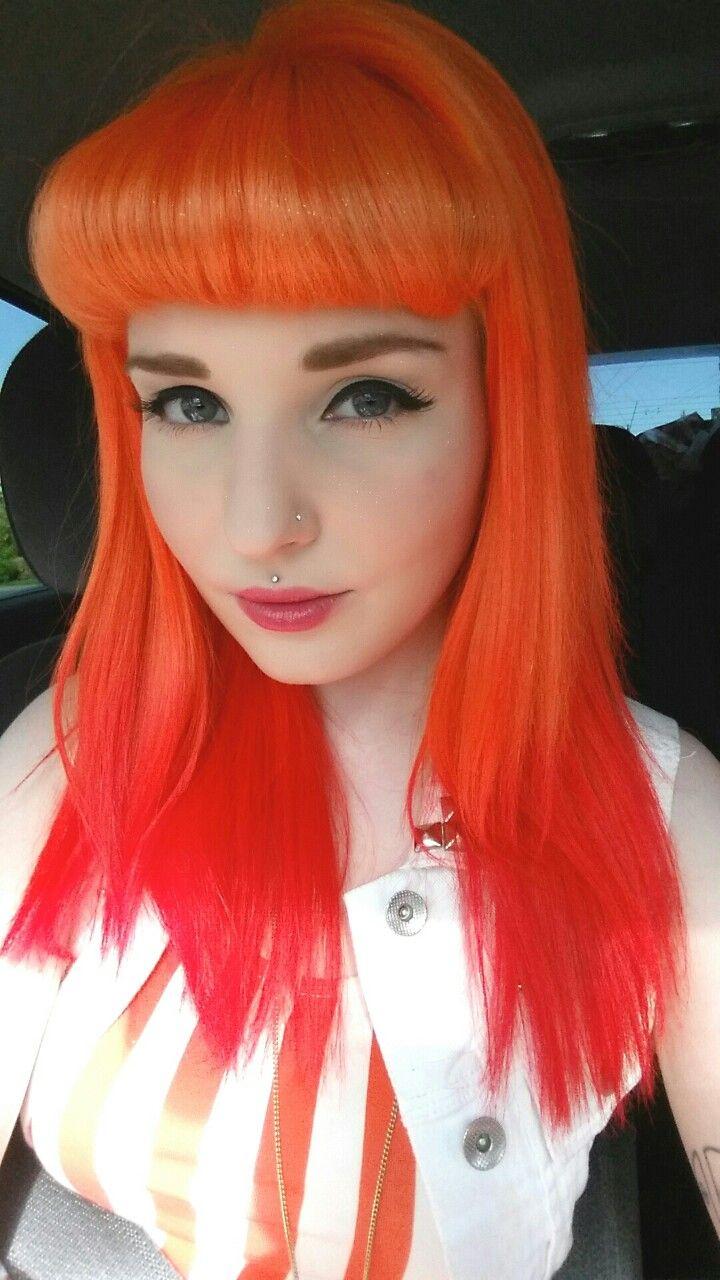 Orange red dyed hair