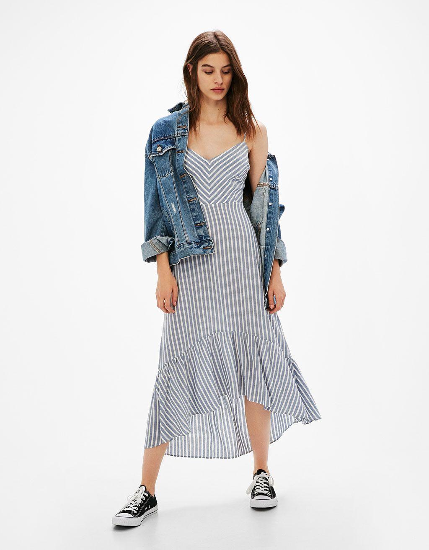 gran colección comprar online gran inventario Vestido largo rayas y lazo espalda | vestidos de rayas ...