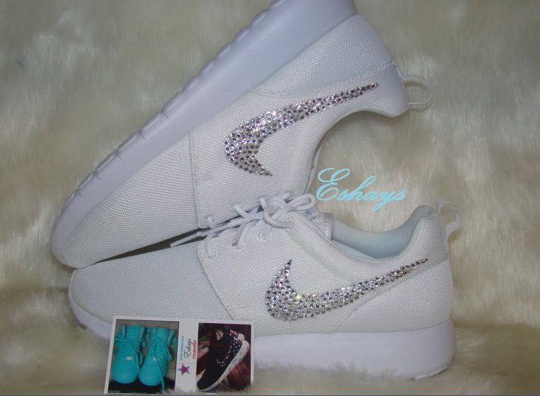 the latest 12949 34840 Rhinestone White Nike Roshe Runs in 2019   Stuff to buy   Nike shoes ...