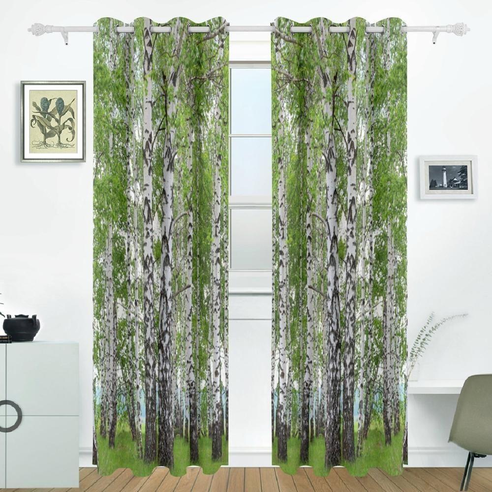 Birch tree curtains drapes panels darkening blackout grommet room