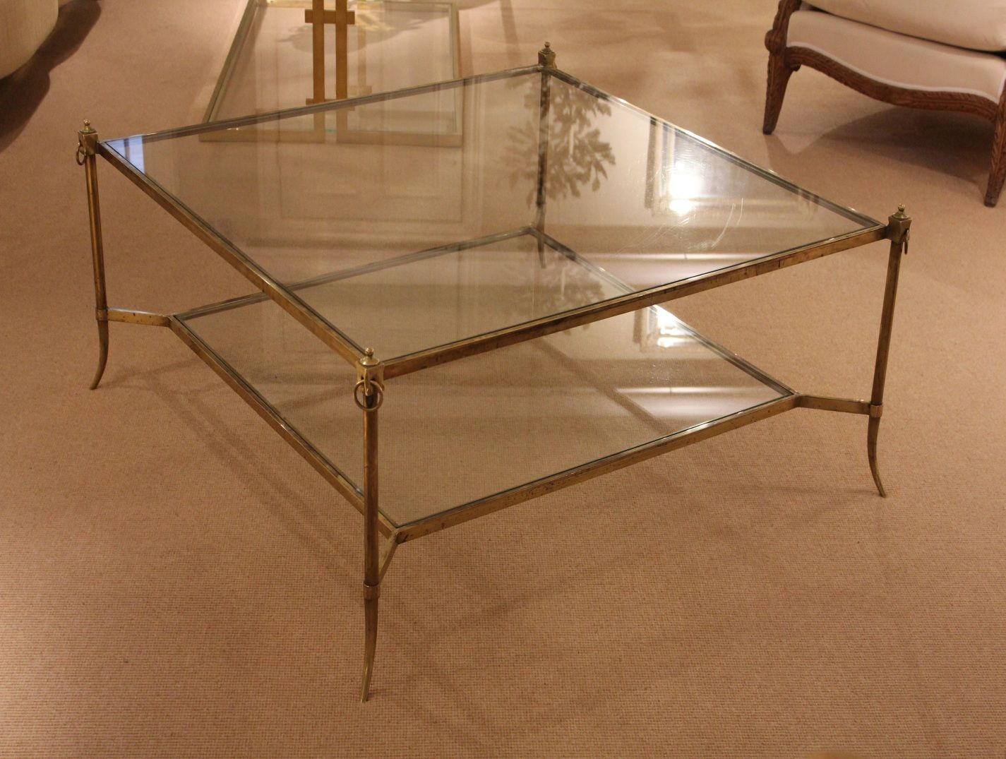A Square Patinated Br And Gl Coffee Table Charles Saunders