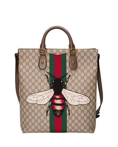 N41UK Gucci Men's Bee-Embroidered GG Supreme Canvas Tote Bag, Tan