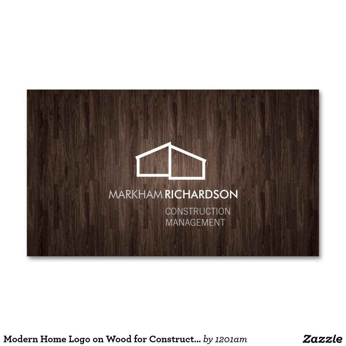 Modern Home Logo on Wood for Construction, Realtor Business Card ...