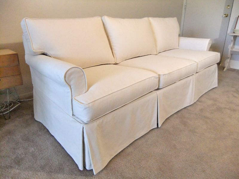 Slipcover Custom Sofa After Natural Canvas By Karen S Slipcovers