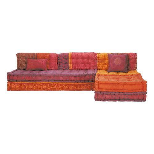 banquette d 39 angle modulable 6 places en coton banquette. Black Bedroom Furniture Sets. Home Design Ideas