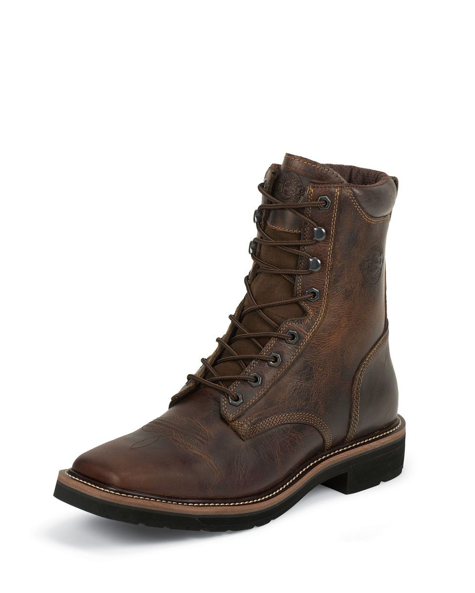 Justin Men S Rugged Tan 8 Quot Stampede Square Steel Toe Boot