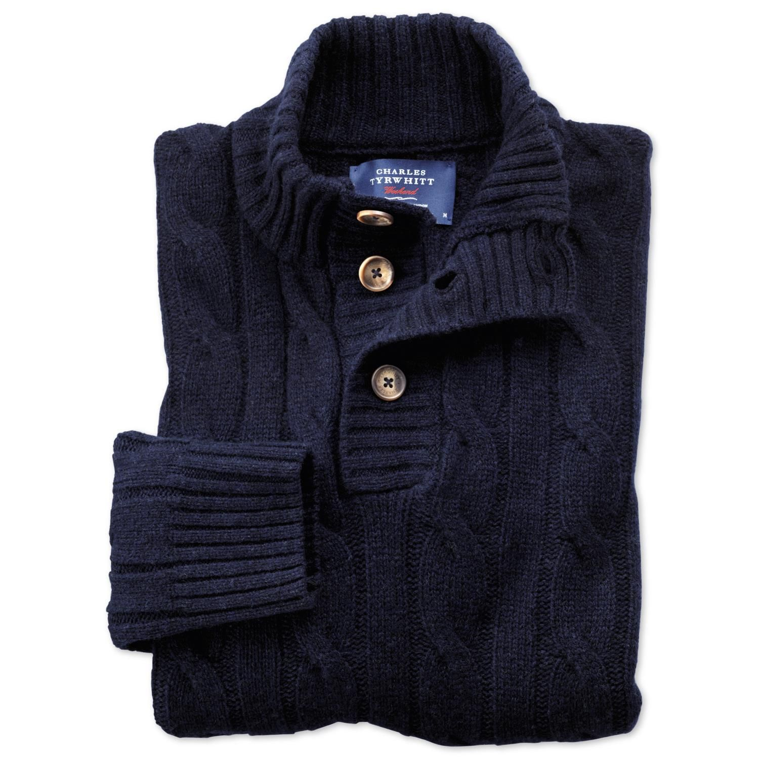 Navy lambswool cable button neck jumper | Men's knitwear