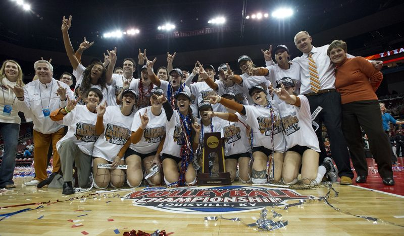 Texas Volleyball celebrates their national championship