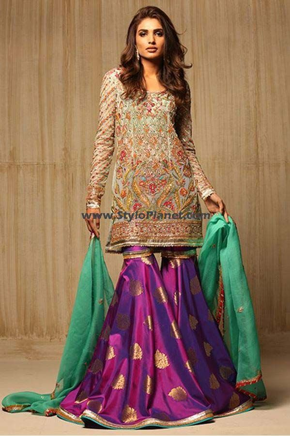 Latest party wear embroidered sharara pants trousers for Sharara dress for wedding online shopping