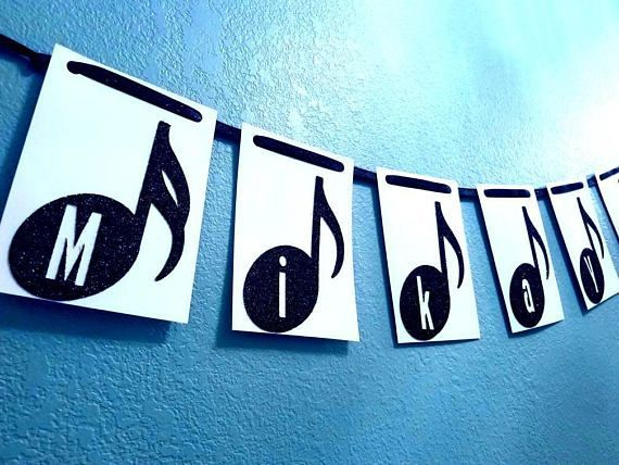 Choose letters only banner colorstext Personalized Music note banner or Letters for birthday party recital concert graduation musician