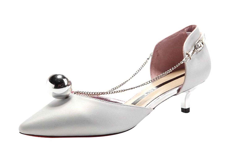 Tandgrade Women Fashion Casual Pointed Toe Thin Chain Little Ball Kitten Heel Sandals Visit The Image Link More Detai Kitten Heel Sandals Heels Womens Heels