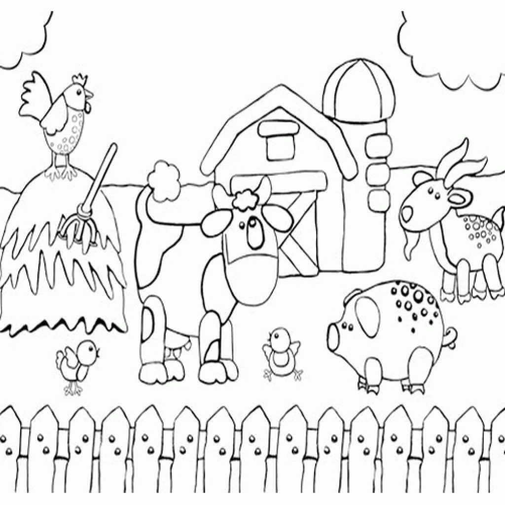Printable preschool coloring page of happy farm animals for Farm animal coloring pages