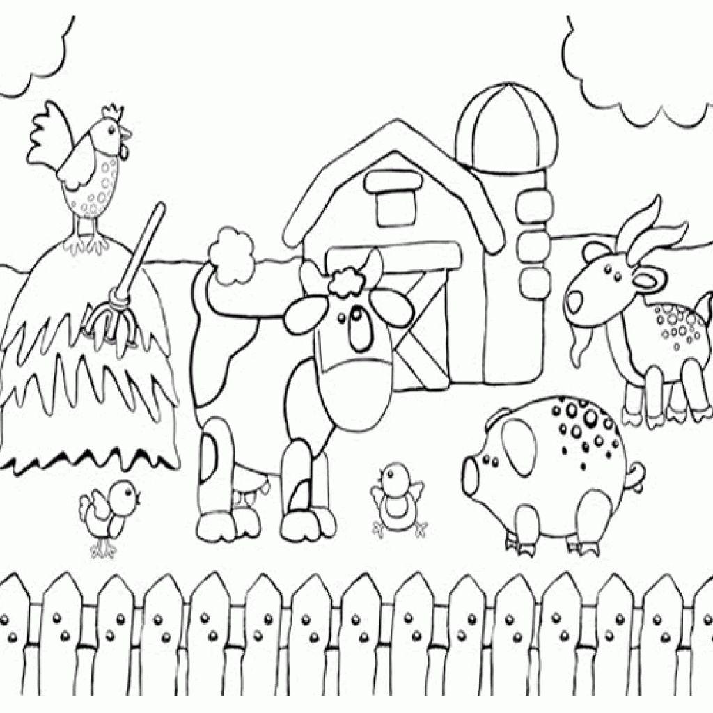 Printable Preschool Coloring Page Of Happy Farm Animals ... | coloring pages for farm animals