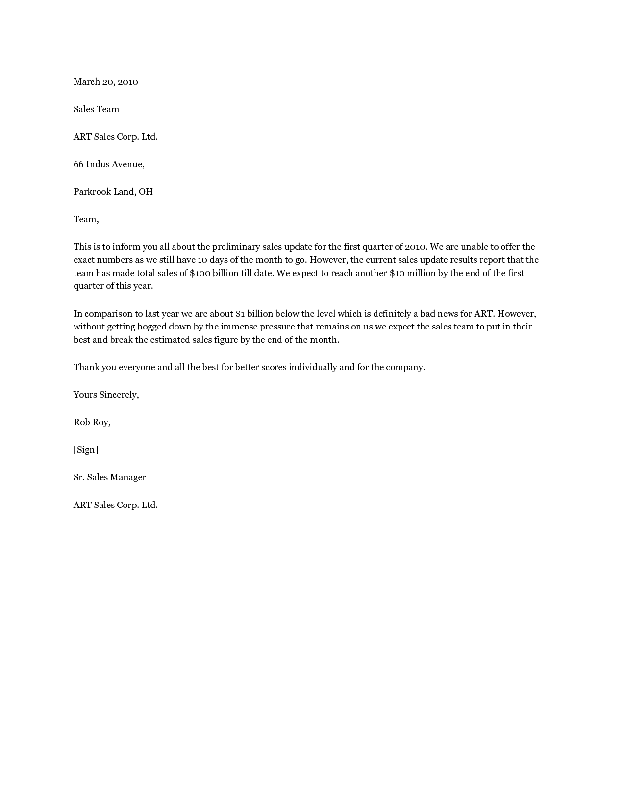 Sales Update Letter Sales Personal Letters helps you find the – Sample Sales Letter Template