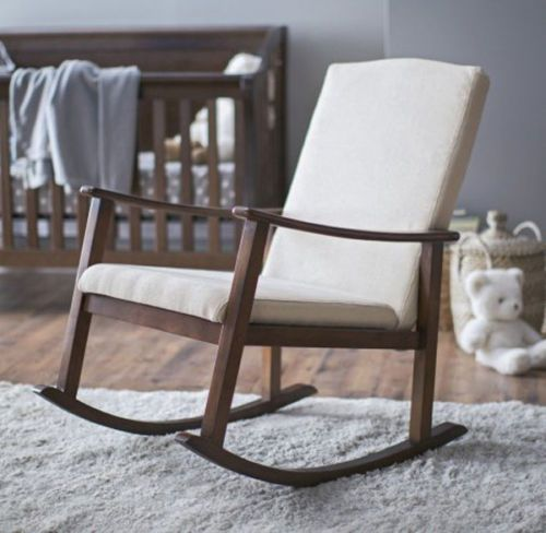 Rocking Chair Nursery Ivory Upholstered Nursing Baby Rocker Bedroom  Living Room