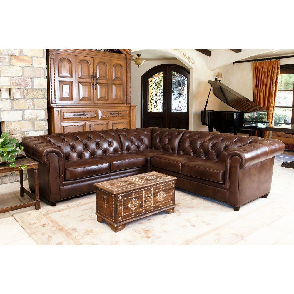 Abbyson Living Tuscan Tufted Top Grain Leather 3 Piece Sectional