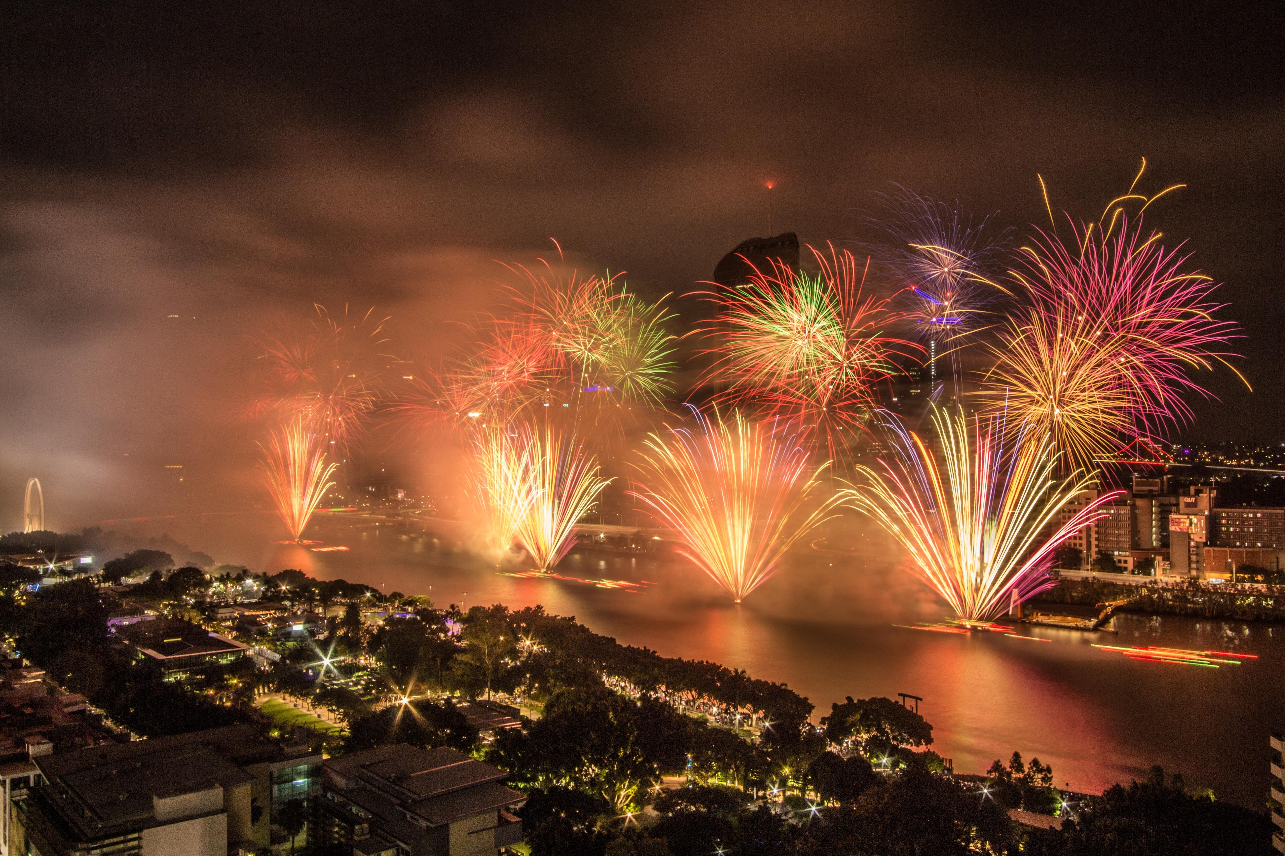 New Years Eve Fireworks 2018, South Bank, Brisbane. https