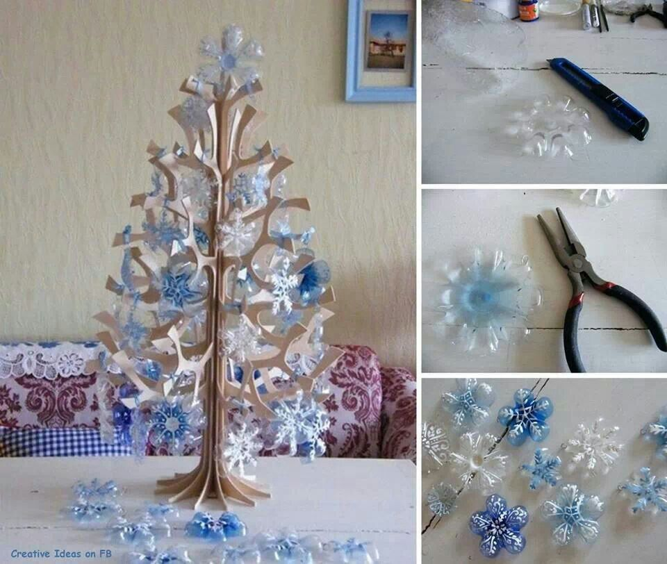 Recycled Plastic Christmas Tree: Diy Snowflakes Using The Bottom Of A Plastic Bottle