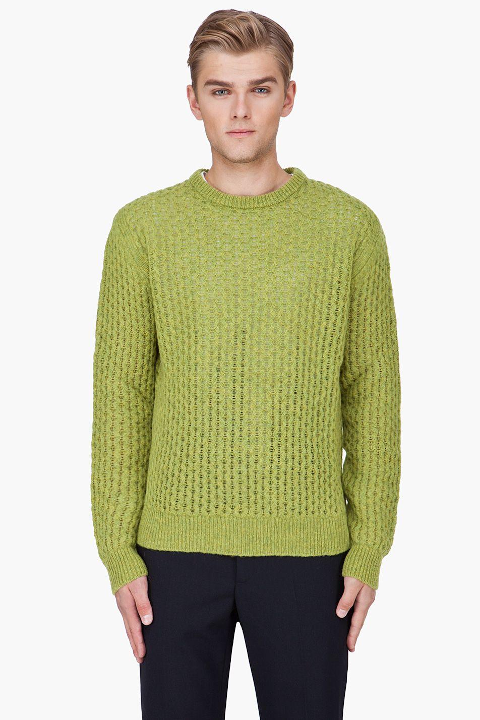 RAF SIMONS Lime Green Wool Knit Sweater | Men's Sweater ...