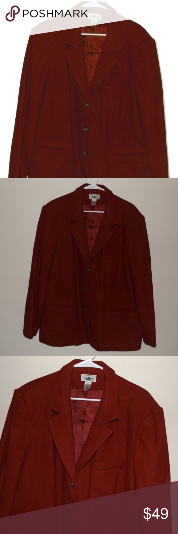 a38ead99765 L.L. Bean Womens Plus Size 22W Vintage Red Blazer L.L. Bean Womens Plus  Size 22W Vintage