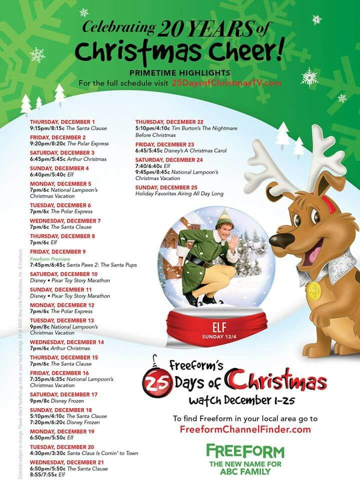 2016 abc familyfree form 25 days of christmas schedule