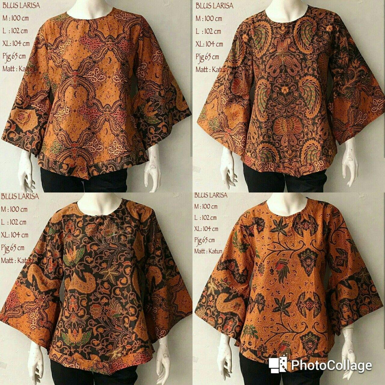 Model Kemeja Batik Wanita Bahan Katun: Blouse Batik Kantor Wanita Larisa Sogan Bahan Katun Batik