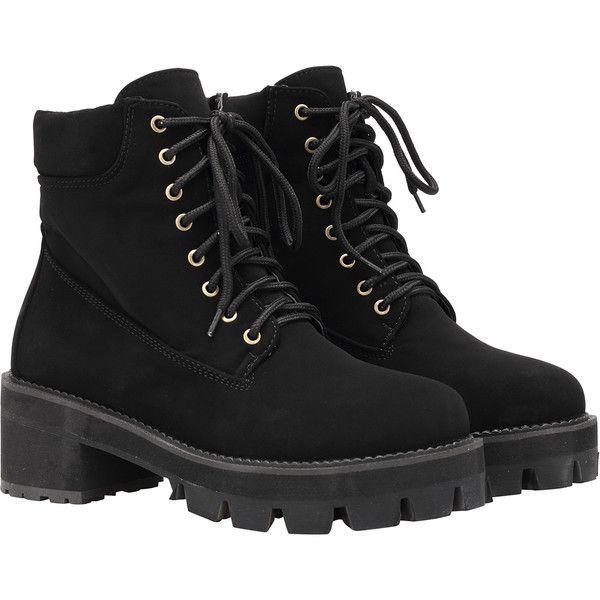 4b7bb09722 Black Round Toe Lace Up Boots ($47) ❤ liked on Polyvore featuring shoes,  boots, ankle booties, clothes - shoes, shoes/boots, black, platform boots,  ...