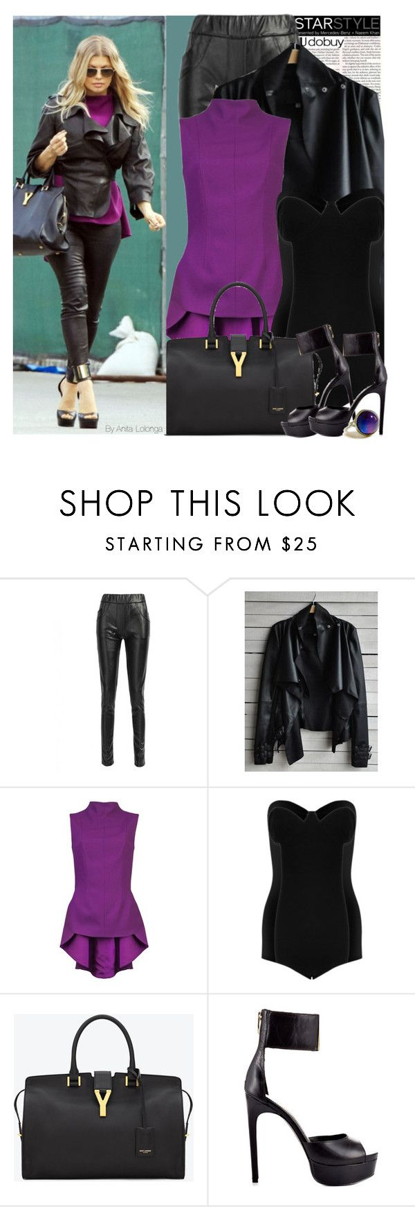 """Celebrity Street Style:Fergie"" by anitadanako ❤ liked on Polyvore featuring The Row, Motel, Yves Saint Laurent, Fergie and Retrò"