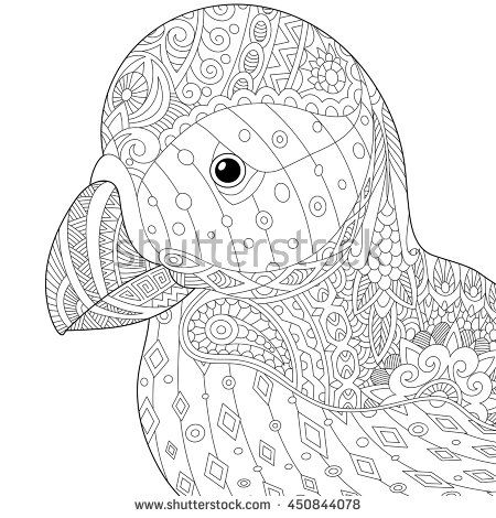 Stylized puffin (atlantic sea bird), isolated on white