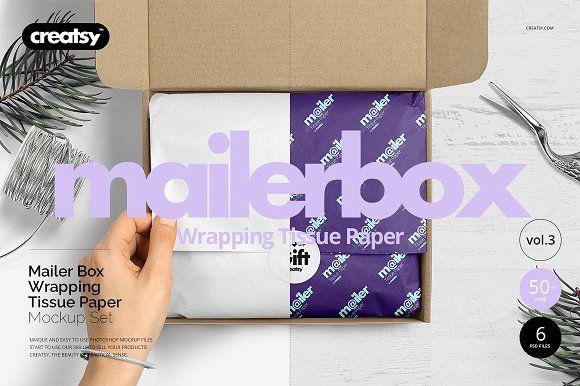 Download Mailer Box Tissue Paper Mockup Set Paper Mockup Mockup Creative Market