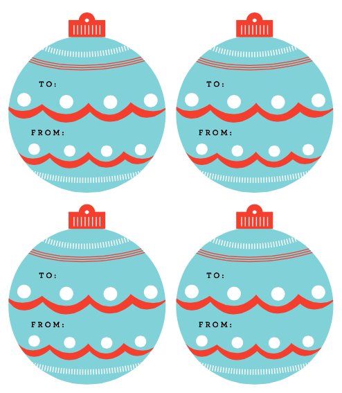 Beautiful, simple ornaments as free printable holiday gift tags by Martha Stewart