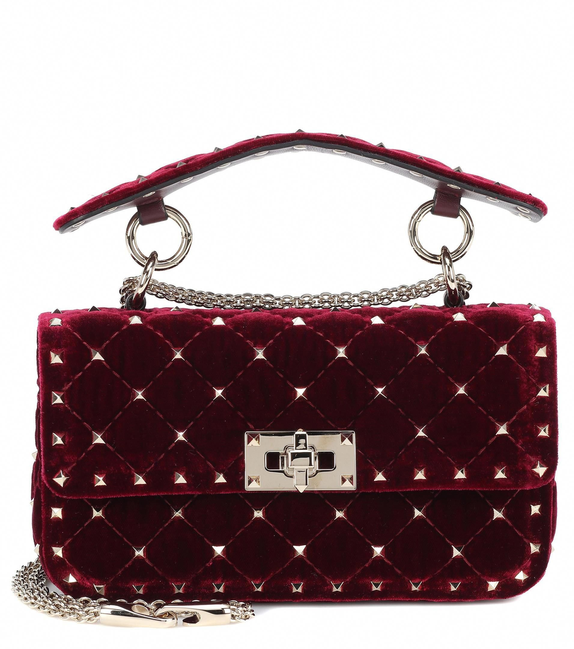 Lyst - Valentino Rockstud Spike Small Velvet Shoulder Bag in Red  Valentino 19e440394e2b8