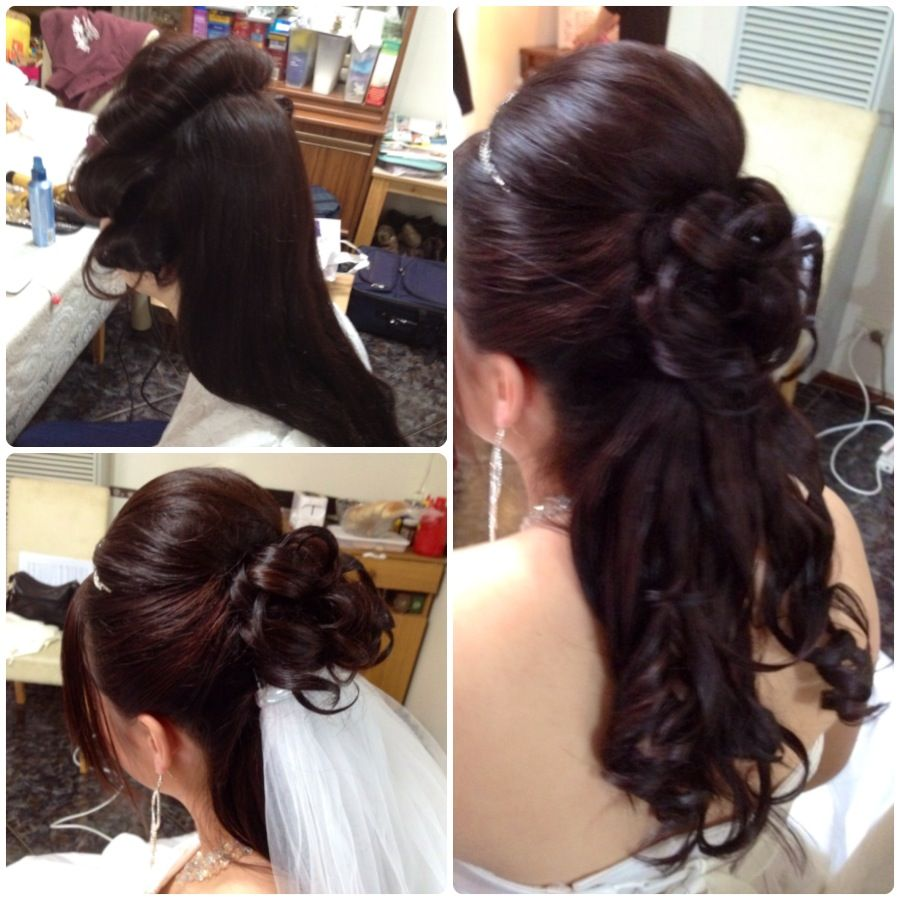 Long Wedding Hairstyles Down: Wedding Hairstyles For Long Hair Half Up With Veil And