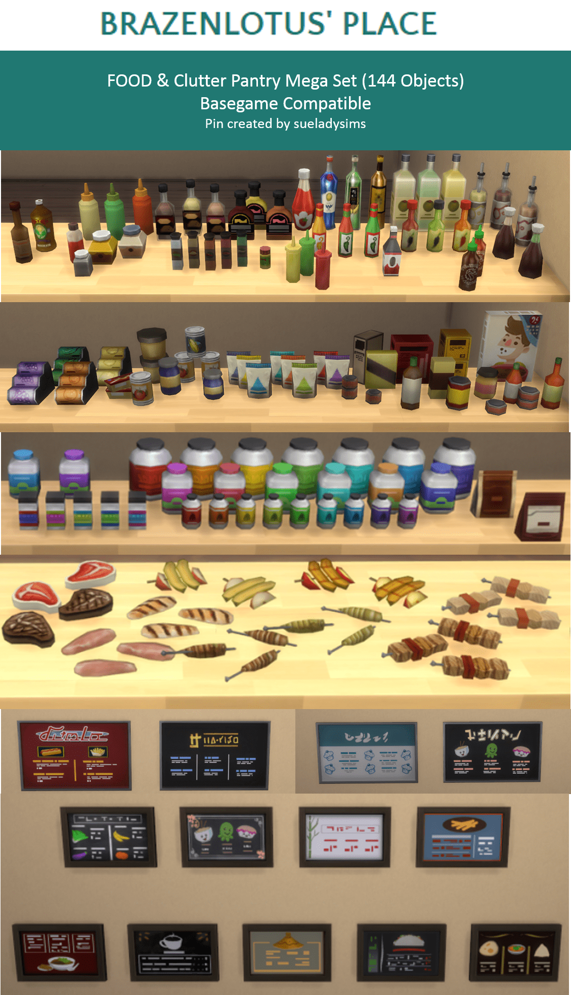 Food Pantry Clutter Mega Set Sims 4 Kitchen Sims 4 Sims