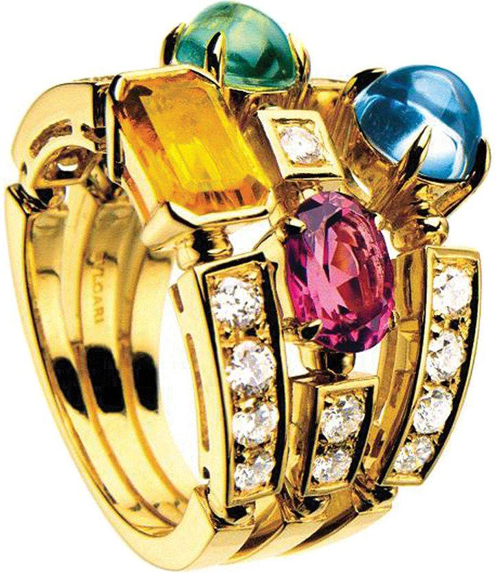Bvlgari Allegra Three-Band 18ct Yellow-Gold, Pink Tourmaline, Peridot, Citrine Quartz, Blue Topaz and Pavé #Diamond Ring - for Women